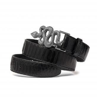 Black Python Snake Belt Silver Buckle