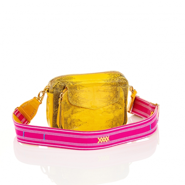 Lemon Yellow Lizard Bag Charly with Strap