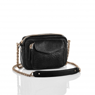 Sac Cuir d'Agneau Charly Noir Metallerie Or