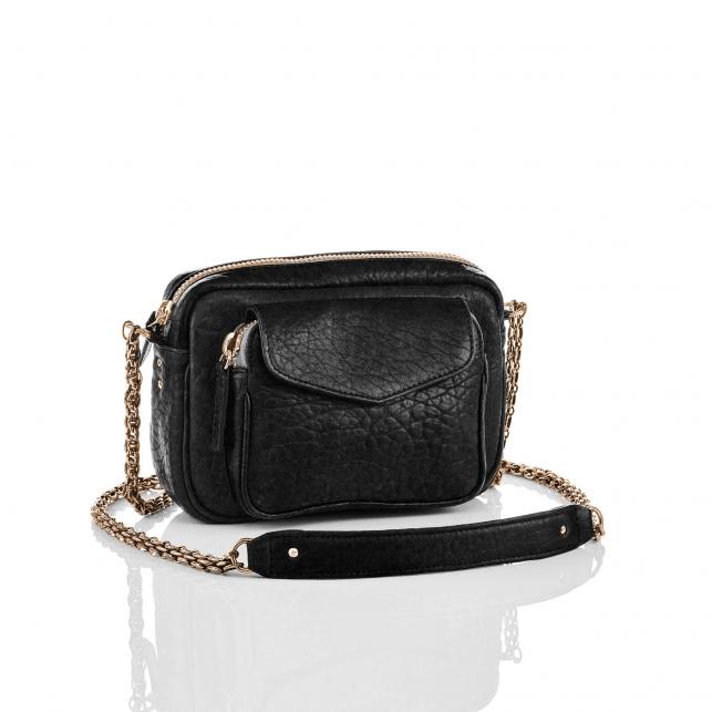 Black Lamb Leather Charly Bag Gold Metal