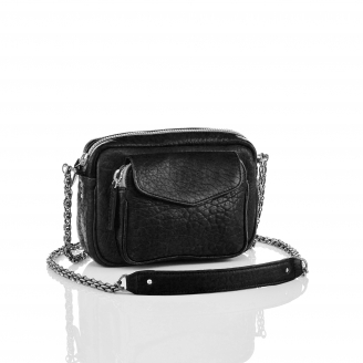 Black Lamb Leather Charly Bag Silver Metal