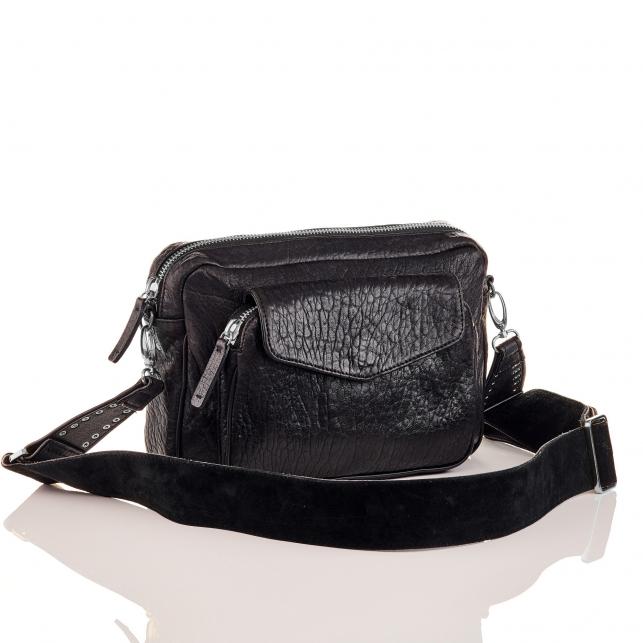 Black Lamb Leather Big Charly Bag Silver Metal