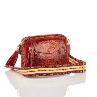 Bag Python Big Charly Moka Color Zip With Shoulder Strap