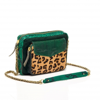Python Leopard Emerald Big Charly Bag with Chain