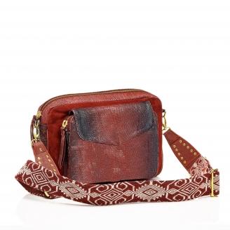 Bag Python Jumbo Charly Burgundy With Shoulder Strap