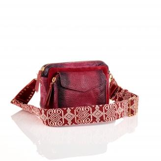 Burgundy Python Charly Bag with Shoulder Strap