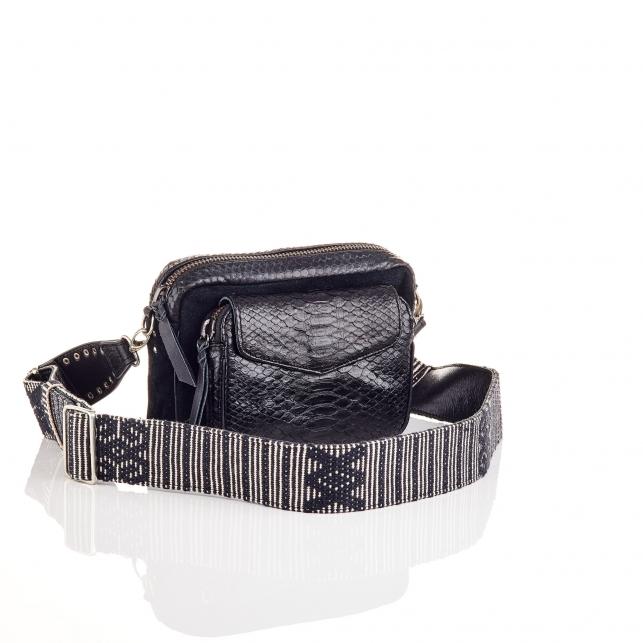 Trimat Black Python Charly Bag with Shoulder Strap