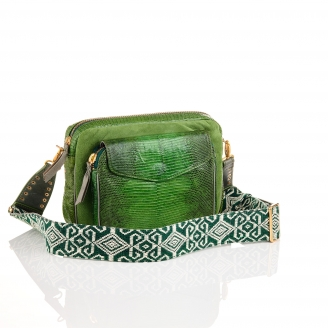 Lizard Bag Big Charly Tricolor Green Moss With Shoulder Strap
