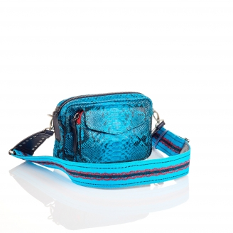 Turquoise Python Bag Charly with Woven Strap