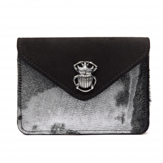 Bubble Used Silver Leather Card Holder Alex