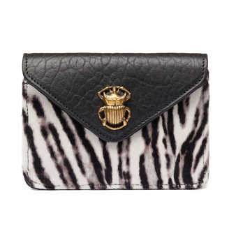Bubble Black Zebra Leather Card Holder Alex
