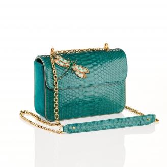 Green Blue Dragonfly Python Bag Ava Medium