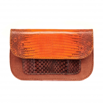 Orange Fire Python Bianca Card Holder