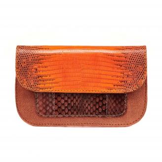 Orange Fire Python Bianca Card Holder