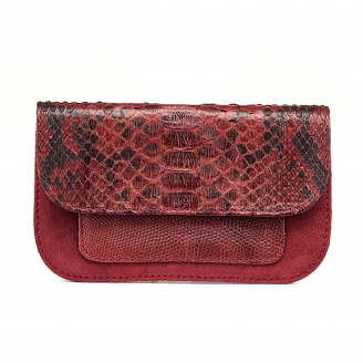 Burgundy Python Bianca Card Holder
