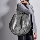 Silver Leather Tote Felix