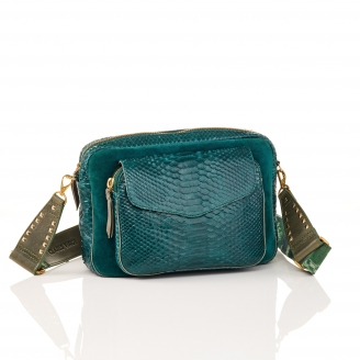 Green Blue Python Bag Jumbo Charly With Shoulder Strap