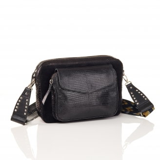 Black Mix Python Bag Jumbo Charly With Shoulder Strap