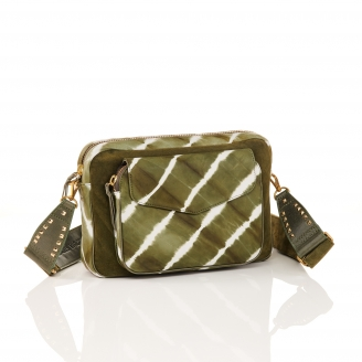 Kaki T&D Leather Bag Jumbo Charly With Shoulder Strap
