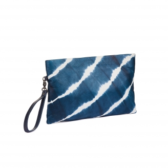 Navy T&D Leather Clutch Lou