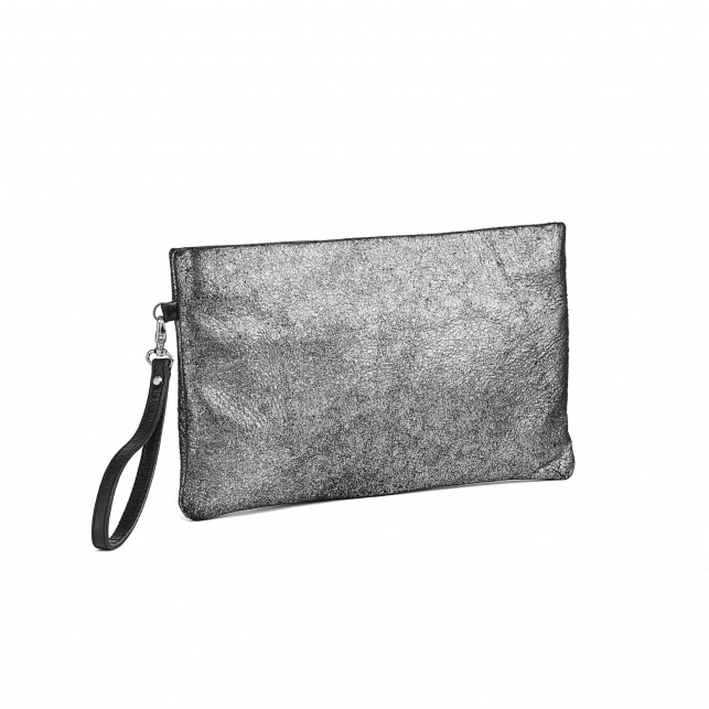 Silver Leather Clutch Lou