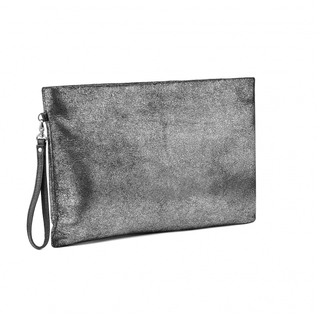 Silver Leather Clutch Big Lou