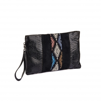 Embroidered Black Python Clutch Lou