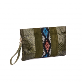 Embroidered Khaki Python Clutch Lou