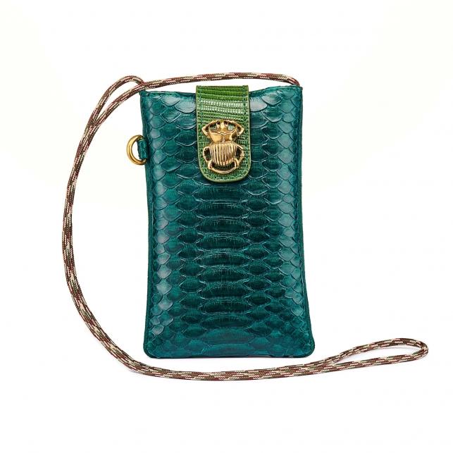 Green Blue Python Phone Bag Marco Black