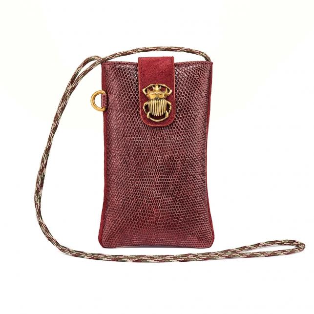 Burgundy Lizard Phone Bag Marcus