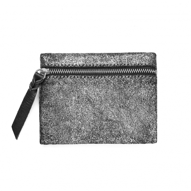 Silver Leather Olivia Coin Holder