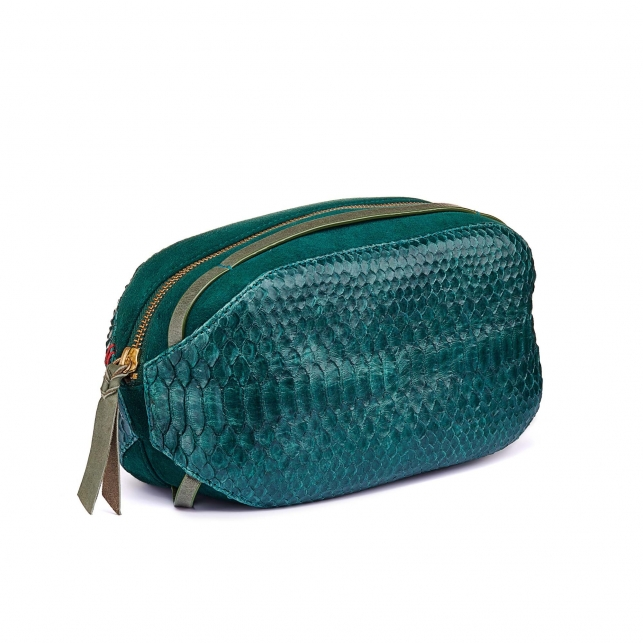 Green Blue Python Toilette Case Paule