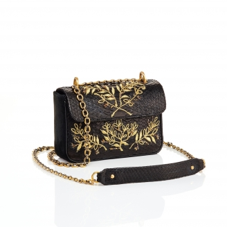 Python Bag Ava Black Embroidered