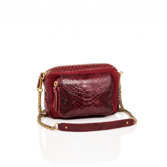 Python and Suede Burgundy Charly Bag