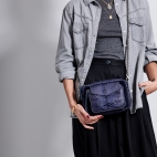 Python and Suede Electric Blue Charly Bag