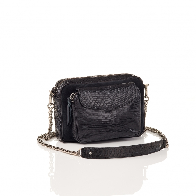 Python and Suede Black Charly Bag