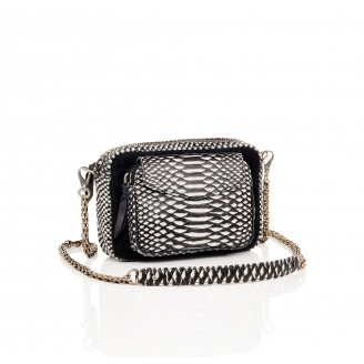 Python and Suede Black and White Charly Bag