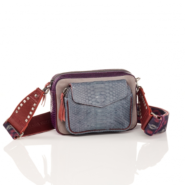 Python and Suede Cloud Grey Charly Bag