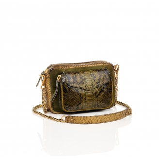 Python and Suede Kaki Gold Charly Bag