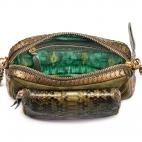 Python and Suede Kaki Gold Charly Bag