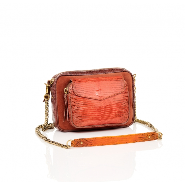 Python and Suede Orange Fire Charly Bag
