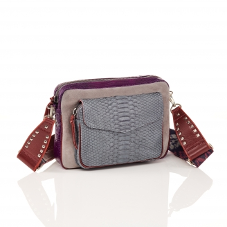 Python and Suede Cloud Grey Bag Big Charly Chain
