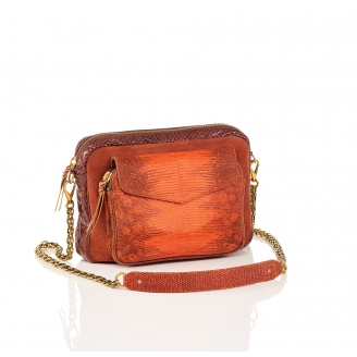 Python and Suede Orange Fire Bag Big Charly Chain