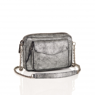 Silver Leather Bag Big Charly Chain
