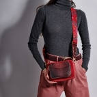 Red Burgundy Python Bag Charly With Shoulder Strap