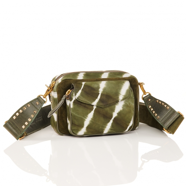 Kaki T&D Leather Bag Charly With Shoulder Strap