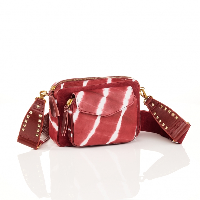 Burgundy T&D Leather Bag Charly With Shoulder Strap