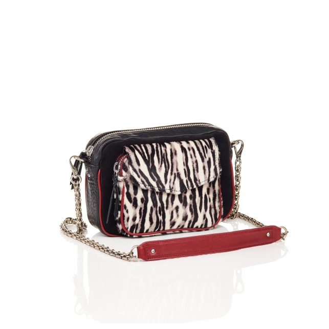 Black Zebre Leather Charly Bag