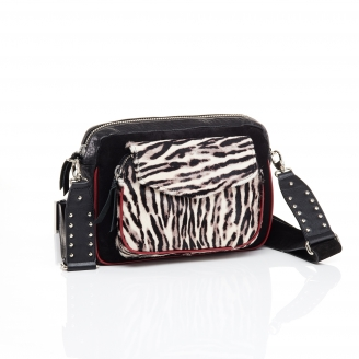 Black Zebre Bubble Leather Big Charly Bag Chain