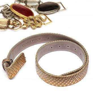 Greige Python Belt